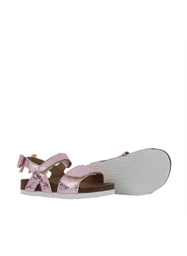 Kids A More Mila Çift Cırtlı Arkası Fiyonk Detaylı Kız Çocuk Sandalet Pembe-Gümüş Pembe
